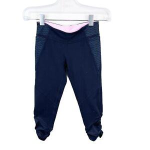Lululemon Ivivva Girls Crop Rouched Leggings Black Size 8