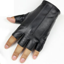 Leather Fingerless Short Gloves Black Half Finger Fingerless Dance Stage Driving