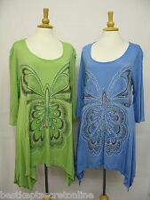 PLUS SIZE TOP SEQUIN & BEAD EMBELLISHED METALLIC BUTTERFLY PRINT WATERFALL