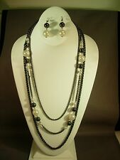 HEMATITE PLATED CHAIN WITH FAUX PEARLS &  HEMATITE BEADS NECKLACE AND EARRINGS