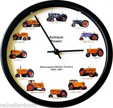 "New MINNEAPOLIS MOLINE Tractors Wall Clock 12 Tractor 10"" Wheel Dial Clock"