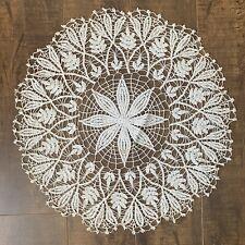 "Vintage Hand Made Large Crochet Doily 17"" Round Centerpiece Ecru Leaf Design"