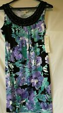 NWT Laura Ashley Womens Floral Shift Dress Size PS Sleeveless Beaded Neck $90
