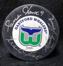 Gordie, Marty & Mark Howe Family Signed Hartford Whalers NHL Hockey Puck JSA