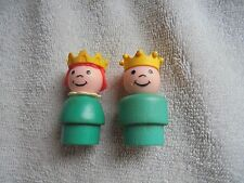 Vtg Little People Fisher Price 993 Castle Prince Princess Turquoise Wood Body 2