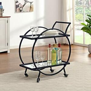 FirsTime & Co. Silver and Gray Odessa Bar Cart American Designed 28 inches Bl...