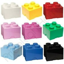 LEGO STORAGE BRICK BOX 4 KNOBS KIDS CHILDRENS BEDROOM PLAYROOM VARIOUS COLOURS