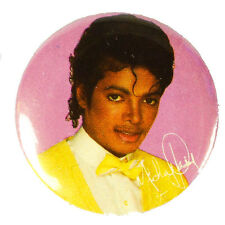 Micheal Jackson Pinback Button Pinback Vintage MJ Pink Yellow 80s Small Old