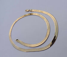Unisex Strong Herringbone Chain Necklace - 14K Yellow Gold - 18.25 inches