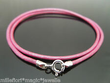 """2mm Metallic Pink Leather & Sterling Silver Necklace Or Wristband 16"""" 18"""" 20"""" 22"""