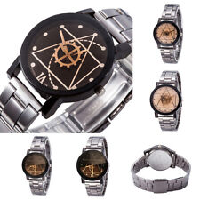 Retro Womens Mens Stainless Steel Watches Compass Quartz Analog Wrist Watch Gift
