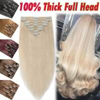 """Indian Thick Double Weft Clip In Real Remy Human Hair Extensions Full Head 24"""""""