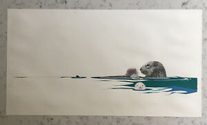 PETER PARNALL SIGNED LIMITED EDITION SEA OTTER NATURAL REALIST PRINT SERIGRAPH