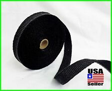 "BLACK MOTORCYCLE EXHAUST WRAP Heat Manifold Header 1""x 50FT ROLL VERY HIGH TEMP"