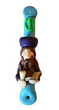 "Fimo Mezuzah Rabbi Holding Kiddush Cup & Torah Book Blue Tube Green Sheen 5"" T*"