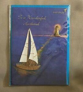 PAPYRUS Happy Father's Day Card Husband Raised Sailboat Lighthouse NEW