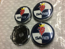 4x Saab Alloy Wheel Hub Centre Cap Set Center Caps Dark Blue/White 60mm