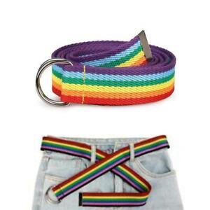 Trendy Rainbow Colors Exquisite Waist Belt Pretty Canvas Waist Skinny Belt A5P9