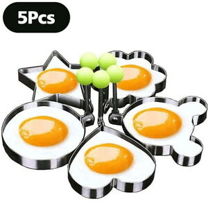 5x Fried Egg Non Stick Stainless Steel Pancake Ring Mold Cooking Kitchen Tools