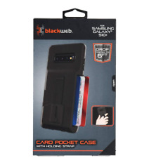 Blackweb Card Pocket Case with Holding Strap and Kickstand for Samsung Galaxy 9
