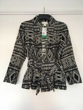 H & M New Black & White Women's Jacquard Aztec Jacket Coatigan UK 10 RRP £40