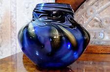 Charles Lotton Cobalt Blue Drop Leaf Vase