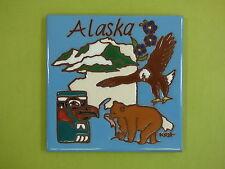 Ceramic Art Tile 6x6 Alaska State Collector Tile Bald Eagle Bear Trivet NEW J57
