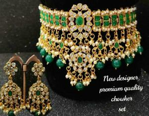 Indian Bollywood Choker CZ AD Bridal Gold Fashion Jewelry Green Necklace Set jew