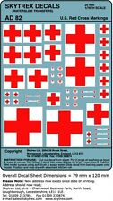 WWII - Modern DECALS US Red Cross Markings 1/76 - 1/72 - 20mm Scale - AD82
