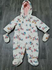 JOHN LEWIS BABY GIRLS PRAM SUIT 6-9 Months FLEECE LINED,SNOW,COSY,ALL IN ONE