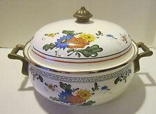 "Vintage Germany made Asta enamelware w brass deep 10"" dutch oven w domed lid EC"