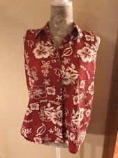 BIG DOGS Red Hawaiian Hibiscus Floral Print Sleeveless Button Down Shirt Sm (K2)