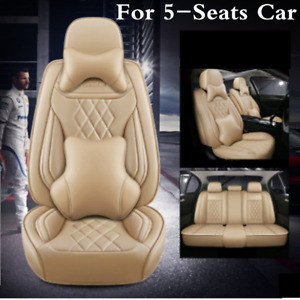 Beige PU Leather Deluxe Edition Auto Seat Cover Cushion Full Set For 5 Seat Car