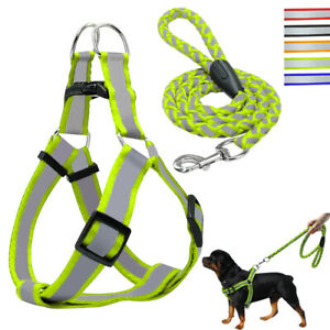 Reflective Dog Step-in Harness and Leash Nylon Pet Walking Strap Vest 5 Colors