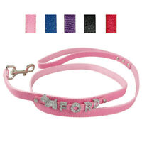 Snake PU Leather Personalised Dog Lead Free Rhinestone Custom Charms & Letter