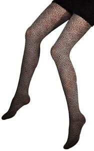 Opaque Geometric Patterned Tights 80 Denier  S M L