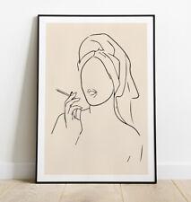 More details for woman smoking print, minimal line art print, lady smoking art print, wall art