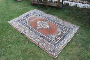 "Vintage Handmade Turkish Oushak Small Area Rug 5'2""x3'5"""