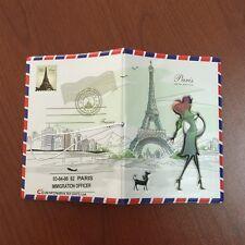 Paris Carte Postale Identity Card Passport Holder Protect Cover CASE For Travel