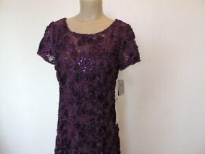 Alex Evenings sz12 long a-line rosette purple eggplant short sleeve sequin $411.