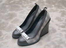 WOMAN -38eu - PUMP- GREY CALF+TISSUE-VITELLO GRIGIO+TESSUTO- HEEL 9cm -LTH SOLE