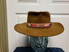 Vintage Brown Western Hat 6 7/8 Brown Thunderbird Beaded Band Grunge Wear Hole