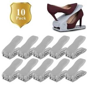 Set of 10 Adjustable Shoe Slots Organizer Racks Space Saver Shoes Holder Rack UK
