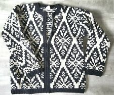 Vintage 90s Aztec Cardigan Wool Sweater Size XSmall Chunky Jacket Zip Jumper