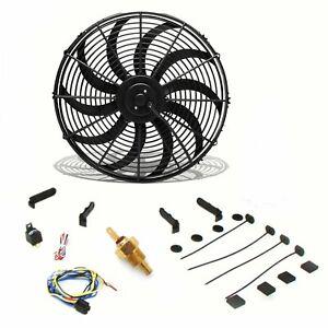 "Universal 16"" S Blade Radiator Cooling Fan, 180 Fixed Temp Switch Kit Push/Pull"