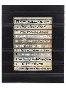 Contemporary Ten Commandments Black with Gold Trim 8 x 10 Framed Wall Art Plaque