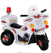 Kids Ride on Motorbike - White Triple wheel Ride On Toy Manual foot step control