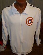 Captain America White Long Sleeve Zip-Up Jacket Marvel Bucky, Steve Rogers