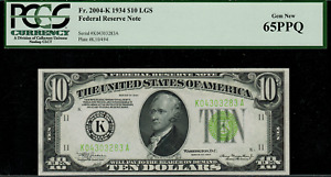 1934 $10 Federal Reserve Note Dallas FR-2004-K - Light Green Seal - PCGS 65PPQ