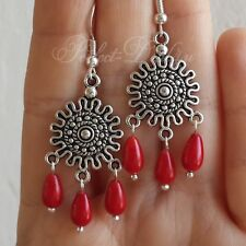 Red Coral Chandelier Earrings Tibetan Silver 925 Sterling Silver Hook Natural